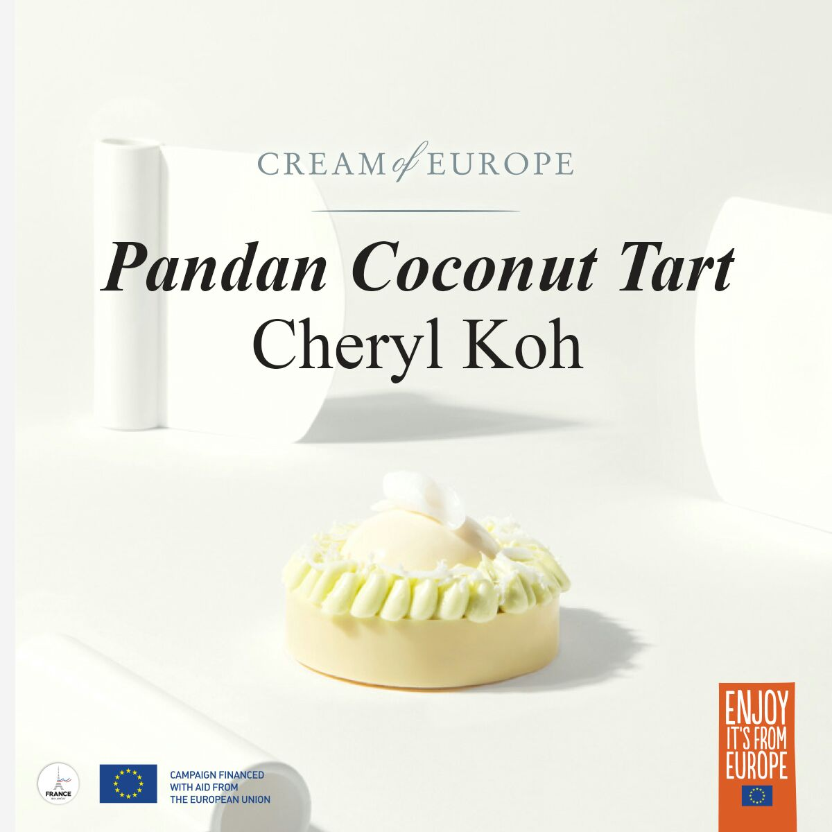 Pandan Coconut Tart, Recipe by Cheryl Koh for Cream of Europe