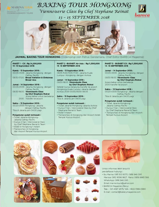 Baking Tour Hongkong 13 - 15 September 2018 with Marina Tours
